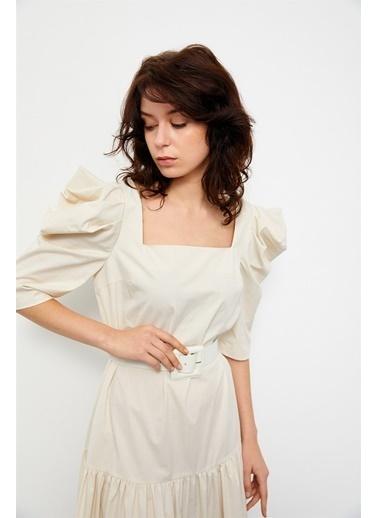 Setre Bej-Kahve Color Block Kemerli Midi Elbise Bej